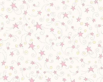 Finch and Friends Flannel from Red Rooster - Full or Half Yard Pink Stars on White Flannel Baby Children Fabric