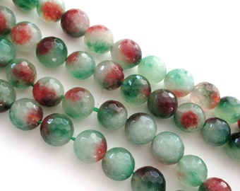 """Mix Green Brown Beads - Round Agate Beads - Faceted Agate Gemstone Beads - 10mm - 16""""- Diy Jewelry Making"""