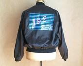 vintage 1980's black nylon windbreaker / old school logo / wt / mechanics jacket / garage shop jacket