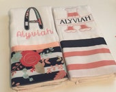Set of 2 personalized monogrammed burp cloths black and white stripe floral