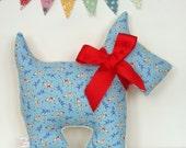 Scottie Dog Nursery Pillow / Dog Pillow / Baby Pillow / Retro Nursery Decor / Scottish Terrier / Blue Pillow / Animal Pillow / New Baby Gift