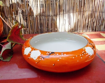1940s Japan Orange Porcelain Bowl with Cherry Blossoms