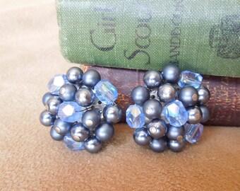 Vintage 70's Earrings, Blue Beaded Cluster Clip on Earrings,  Retro 50's Rockabilly Style