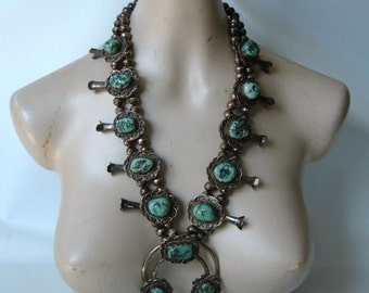 HUGE Navajo Squash Blossom Necklace Turquoise  Sterling Silver  296g Great Stones! Old Dead Pawn Vintage