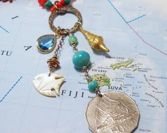 Fiji, Vintage Coin Necklace - - Ancient Mariners - - Polynesia - Sailing - Sailor - Canoe - Boat - Oceania - Adventure