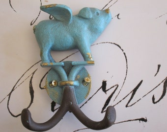Cast Iron Pig Hook Pig Wall Hook Upcycled Pig Hook Nursery Hook Kitchen Hook Wall Hook Pig Decor Blue Pig Hanger Jewelry Hook Flying Pig Pig