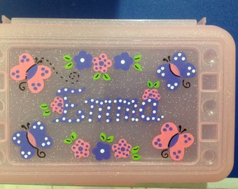 Personalized  pencil case, art, crayon box- butterfly,flowers, ladybugs, polka dots- kids party favor -birthdays,communions