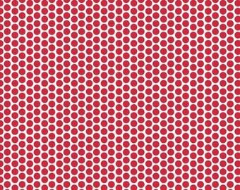 Honeycomb Dot Reversed in Red  - 1 yard -  by Riley Blake Designs.