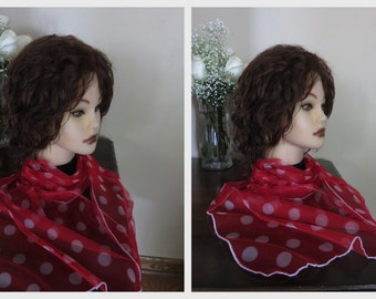 Red - White - long modest  lace net sheer headcovering / neck scarf - Church or Chapel veil mantilla  NEW