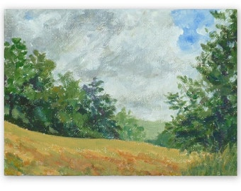 Sunny meadow, original landscape painting, acrylic, 5x7 inches