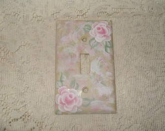 Shabby Cottage Chic Hand Painted Pale Rose Ivory/Beige  Light Switch Cover