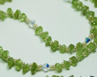 Gemstone Necklace Green Peridot Swarovski Crystal - Lovely Green Gemstones Classic Trendy Necklace Sterling - srajd - Eva Barkman Designs