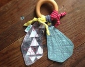 Triangle Gems Baby Teether, Wood Teething Ring, Shaped Fabric, Red Black and White, Slate Blue Green, Sensory Baby Toy, Gender Neutral