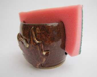 Pottery sponge holder with SPECKLED RUST glaze