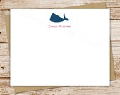 whale note cards, notecards - set of 12 - flat personalized stationery, stationary - nautical, ocean - choose font & color