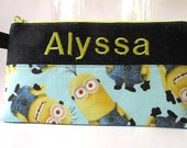 Handmade pencil bag with zipper - Pick the fabric -  Big eyes - Minions - Superheros - embroidery name - monogram custom order - storage bag