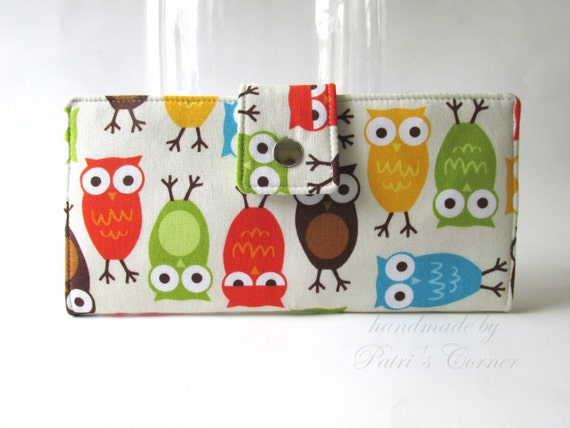 Handmade wallet for women - owls for you - Ready to ship - vegan clutch - cotton purse