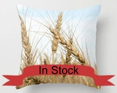 """18"""" Wheat Field Throw Pillow Cover, Rustic  Home Decor, Golden Brown Photo Cushion Case, Blue Gifts for Grain Farmer, Grandfather, Man Cave"""