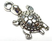 Turtle Bead Charm ONE Perfect for bracelet or earrings Base Metal Silver Tone Tortoise Tortuga Sea Creature DIY Miniature Small