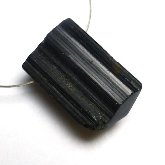 Black Tourmaline Bead Raw Crystal Reflective Mens Jewelry