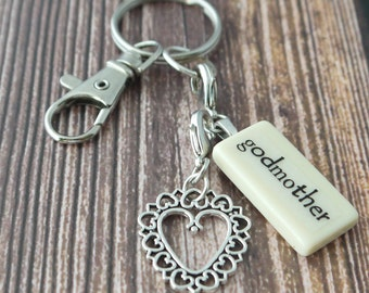GODMOTHER Key Chain Personalized Customized Domino for Aunt, Sister, Gift for Godmother, Key Chain for Godmother by Kristin Victoria Designs