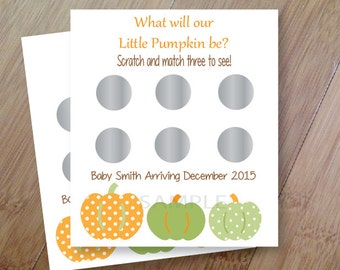 Fall Pumpkin Gender Reveal, Set of 12 Scratch off Cards for a Baby Shower or Gender Reveal Party Forest Animals