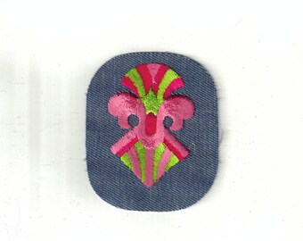 Pink Green Design Shapes Bright Retro Vintage 1970's Sewing Patch Applique