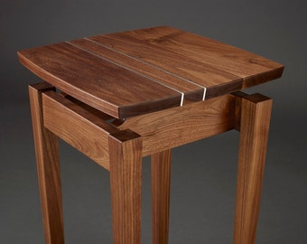 Walnut and Aluminum Side Table - straight aluminum inlay