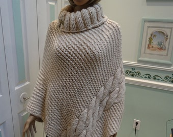 PONCHO,Gold thread ivory yarn,Turtle Neck, winter, ivory starlight, super bulky knit imported yarn, ex-large