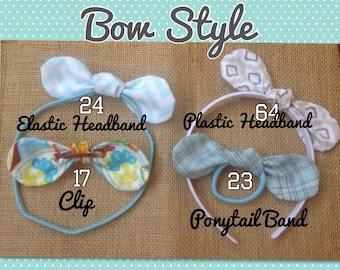 Fabric Bow Ponytail Holder, Bow Headband, Fabric Bow Hair Band, Hair Bow