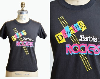 Vintage 1980s Dancing Barbie and the Rockers TShirt / 1980s Hipster T Shirt Graphic Tee Retro Tee Shirt xs s