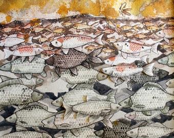 Original Art Watercolour Fish Painting - Networking