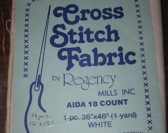 "4 Pieces 18 Count White Aida Cross Stitch Fabric 12"" x 18"""