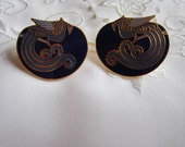 Vintage Peacock Cloisenne Pierced Earrings