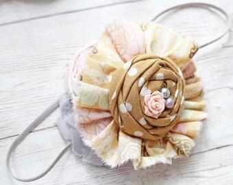 Smitten - grey pink and mustard rosette and chiffon headband
