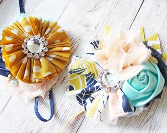 Floral Oasis mustard, peach, navy and mint headband M2M Willowbee Apparel