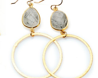 Rutilated Quartz Earrings with Gold Vermeil Hoop and Bezel Set Stone - EG01