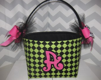 Green Black Checked Hot Pink Halloween trick or treat Basket / Personalized Appliqued Letter Included
