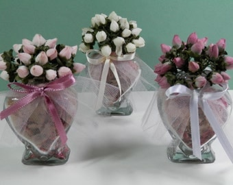 15 Party Favors Small Glass Heart Potpourri Fill Silk Rose Bud Card Holder Mauve White Cream Little Floral Bouquet Wedding Anniversary Gift