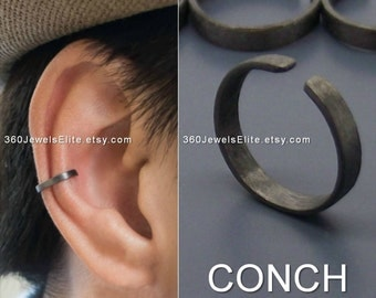 Conch ear cuff,  busted wire hoop, men's ear cuff, conch earring, non piercing, cartilage earring, simple ear cuff, men's hoop earring, 104K