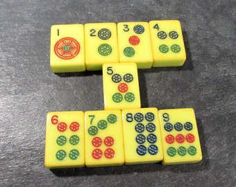 Bakelite Mah Jongg Tiles VINTAGE Mah Jongg Tiles DOTS Set Mah Jong Bakelite Tiles Nine (9) Vintage Art Jewelry Game Supplies (G135)
