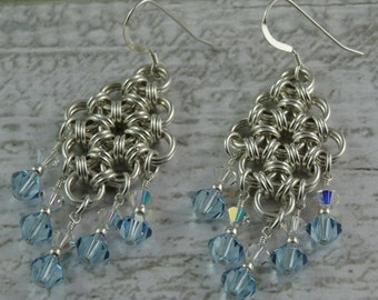 Sterling Silver Swarovski Crystal Chainmaille Japanese Weave Earrings