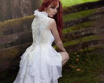 Zombie apocolypse white tattered wedding jacket boho Steampunk