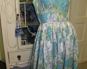 1950's Vintage Blue Floral Dress womens small