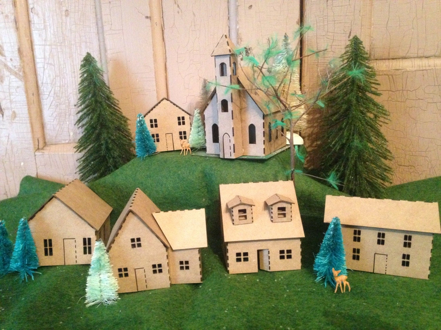 Putz house kit DIY 6 miniature houses by AgedWithThyme on Etsy