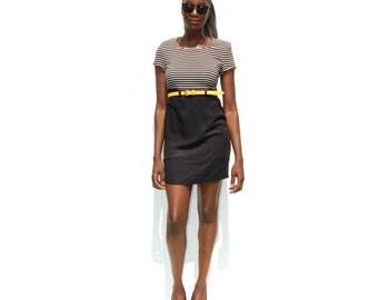 Mod striped colorblock minidress 1990s 90s VINTAGE