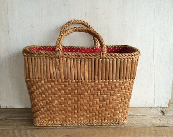 Vintage Wicker Basket with Red & White Polka Dot Fabric