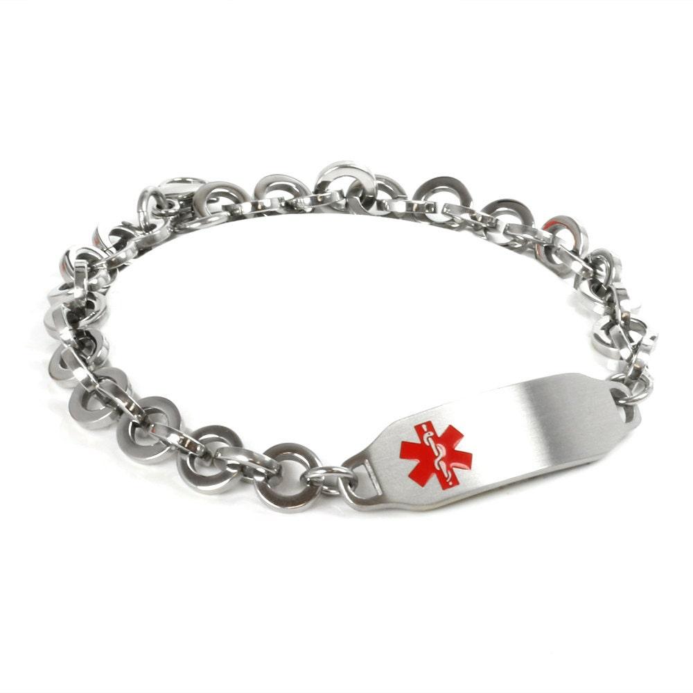 medical id bracelet engraved interlocking steel ring links