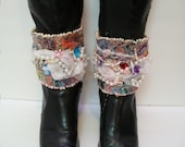 Handmade Ankle Spats, Set of Beaded Ankle Cuffs, Boot Covers, Handmade Bohemian Style Ankle Cuffs, Boot Accessories, Fashion Accessories,