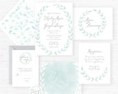 The Hailey Collection | Hand-Painted Watercolor Wedding Invitations - Sample